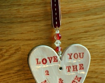 Love you to the Moon & Back Pottery Heart, Girlfriend, Boyfriend, Bride, Groom, Family, Valentine, Anniversary, Celebration, Sussex pottery.