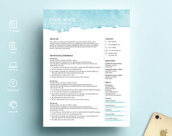 creative resume template, resume template ms word, CV template, professional resume, modern resume, art teacher resume, Olive resume