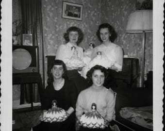 Vintage Photo of Four Women Posing with Dolls 1950's, Original Found Photo, Vernacular Photography