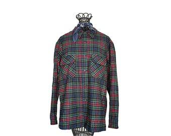 60s Pendleton Woolen Mills Loop Collar Shirt - Plaid Flannel Board Shirt - Dark Blue Green Red - Men's Medium - Women's Large XL