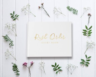 Guestbook Fast, Last Minute Guest Book, Rush Guest Book, Gold Foil Guest Book Delivery, Guest Book Fast, Rush Guestbook, Gold Foil Guestbook