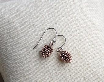 Pinecone Earrings, Dainty Rose Gold Pine Cone Earrings, Pine Cone Earrings, Pinecone Jewelry, Pinecones, Dainty Drop Earrings