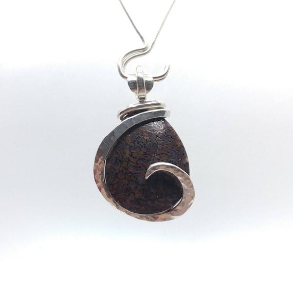 Gem Bone Pendant | Dinosaur Fossil Necklace | Sterling Silver | Dinosaur Fossil Pendant | Dinosaur Bone Necklace | Rustic Stone Necklace |