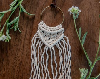Angled Macrame Pendant Necklace