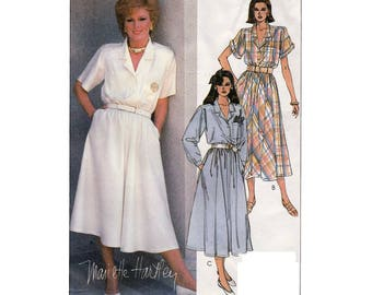 Women's Pullover Shirtwaist Dress Sewing Pattern Misses Size 12 Bust 34 UNCUT Vintage 1980's McCall's 9493