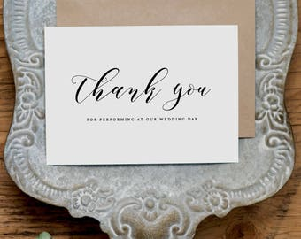 Thank you for Performing At Our Wedding, Band Thank You Wedding Card,Wedding Card for Band, Wedding Thank You Cards,Band Thank You Card, K10