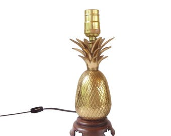 sweet brass pineapple lamp shiny glam gold pineapple lamp mid century hollywood regency bedroom lamp vanity - Pineapple Lamp