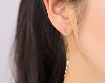 Curved bar threader earring, diamond bar earring, 14k white gold, rose gold, yellow gold wire earring, dangle swing earring,gol-e103