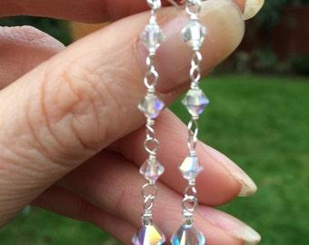Long AB Swarovski CRYSTAL wedding earrings Sterling Silver studs clear crystal bridal earrings bridal jewelry AB crystal wedding jewellery