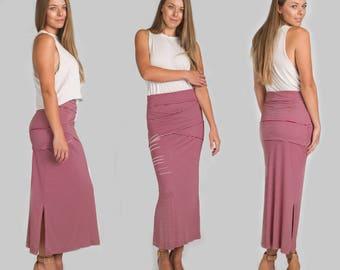Wrapped Waist Maxi Skirt