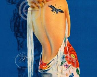 Gorgeous Art Deco Print, Billy DeVorss Lady, wearing Floral Shawl, Blonde Bombshell, Dragonfly Tattoo , 1930's Giclee wall Art Print,  12x18