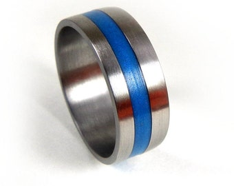 Blue Titanium Ring, Thin Blue Line, Police Ring, Thick Blue Line, Resin Ring, Ring for Him, Ring for Her, Resin Jewelry, Grand Junction Guy
