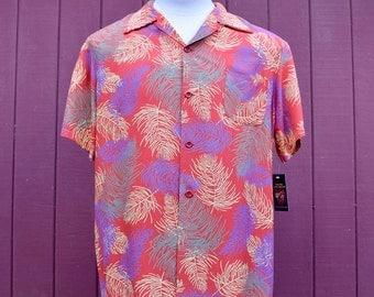 Late 40s / Early 50s Red Cold Rayon Palm Leaf Print Hoaloha Hawaiian / Aloha Shirt Large