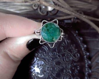 Green Sillimanite Ring, Fibrolite Ring, Green Crystal Ring, Star Ring, Flower Ring, 18,5mm Ring