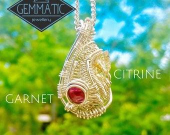 Citrine and Garnet Sterling Silver Pendant