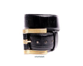 Vintage Belt *Alligator Black Wide Belt with Gold Bold Square Buckle 90s Belt