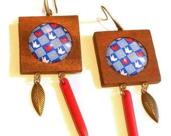 Wooden Earrings Birds Origami Leaf and Howlite Zoizeaux origami