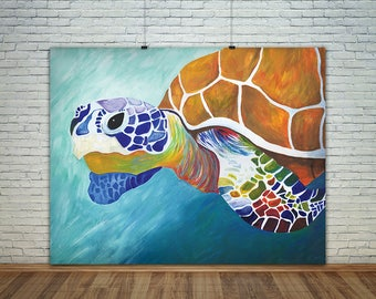 Sea Turtle Watercolor Print - 8x10, 11x14 - Home Decor