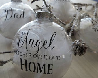 Personalized Memorial Ornament, Memorial Gift, Angel Watches Over Us, Angel Ornament, Custom Ornament, Personalized Gift, Christmas Gift
