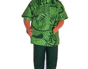 Fashion  Doll Clothes-Green Patterned Short Sleeve Shirt & Green Pants