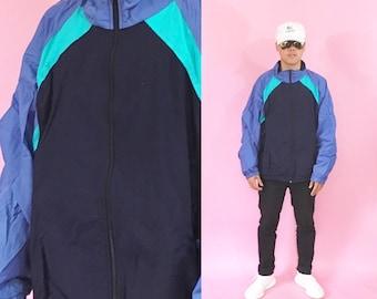 Vintage windbreaker colorblock jacket 90s windbreaker size xl jacket light jacket nylon 1990s 1980s