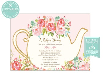 Bridal tea party invitations etsy tea party invitation template floral teapot bridal shower baby shower birthday party filmwisefo Gallery