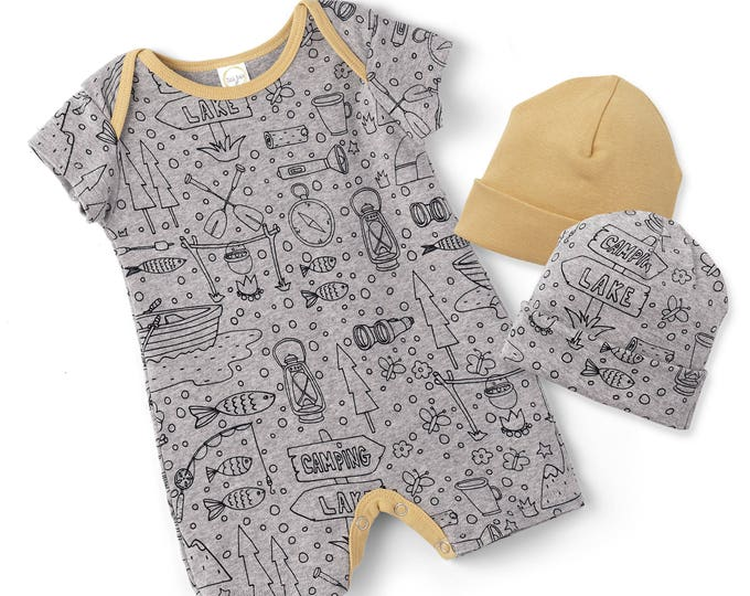 Newborn Baby Coming Home Outfit, Baby Boy Onesie Summer, Baby Boy Short Sleeve Romper, Baby Girl Shorts Romper, Happy Camper Baby