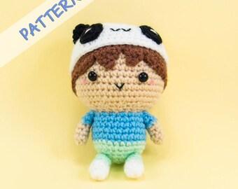 Boy Wearing Panda Hat Amigurumi Pattern - Amigurumi Doll Pattern - Doll Crochet Pattern - DIY gift - Crochet gift - Boy Doll