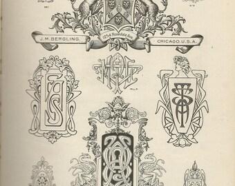 monograms engraving bergling 1920 calligraphy downloads