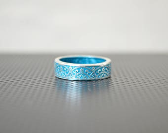 Moroccan Coin Ring, Turquoise Coin Ring, Stained Glass Ring, Turquoise Ring, Coin Art, Morocco, Silver Coin Ring, Moroccan Art, Boho Ring