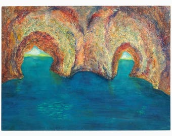 1950s Emma Ferry Oil Painting Vintage Art Sea Arches