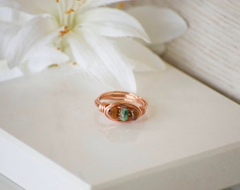 Wire Wrapped Ring - Three Stone Ring - Bird Nest Ring - Beaded Wrapped Ring - Hippie Jewelry - Boho Ring - Ring - Copper Ring - Wire Wrapped