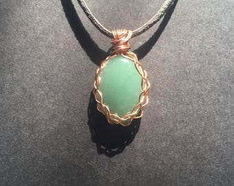 Copper Wrapped Aventurine Necklace