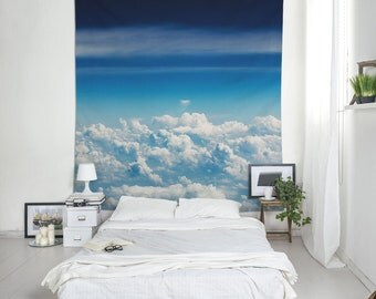 Flying Tapestry, Over The Clouds Wall Decoration, Blue Wall Blanket, Bohemian Tapestry, Fabric Hangings, Aerial Wall Art, Clouds Art. UL017