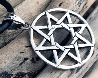 Sterling Silver Sun Star Pentagram Pendant Necklace SKY025