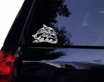 Beautiful Tribal Dolphins Decal - 2 Dolphins Jumping Waves Tribal Vinyl Car Decal, Laptop Decal, Car Window Yeti Sticker
