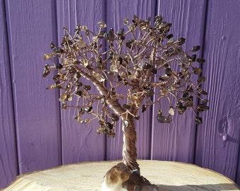 Smoky Quartz Cluster, Crystal Gem Tree, Semi-precious Stones, Spiritual Decor, Metaphysical Gift, Crystal Healing, Pagan Altar, Wrapped Wire