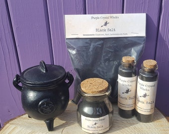 Witches Black Salt, Glass Vial, Apothecary Bottle, Dried Lavender & Sage, Pagan Altar, Spell Protection, Portable Cleansing, Wiccan Amulet