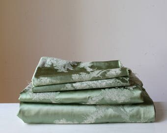 Vintage green brocade fabric/ vintage decorator fabric/ satin curtain material/ upholstery fabric/ PRICE for 4 pieces
