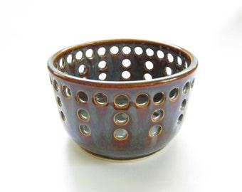 Ceramic Lantern, Pottery Lantern, Ceramic Candleholder, Pottery Candleholder, Brown Candleholder, Brown Lantern, Small Lantern