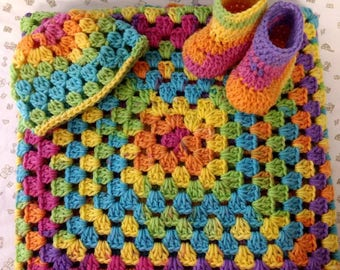 3 Pc. BLANKET, BEANIE, & BOOTIES Set - Ready to Ship