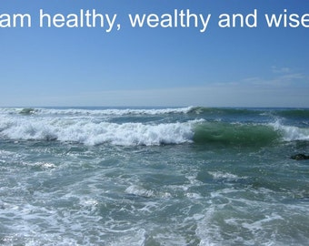 PRINTABLE WEALTH AFFIRMATION relaxing beach photo easy print