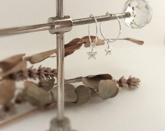 Silver star earrings, silver leaf earrings, Sterling Silver Star earrings, hoop star earrings, hoop leaf earrings