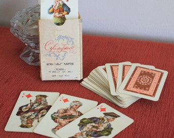 Rococo style Russian Playing Cards vintage used 54 card deck plus two blanks