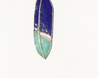 Stained Glass Feather Suncatcher Purple Mint