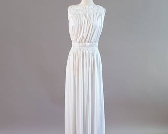 1970s White Grecian Goddess Mac Tac Paris Leonardo Sunshine Dress