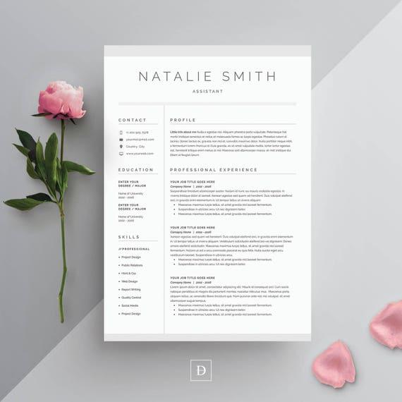 resume template 3 page cv template cover letter for ms word instant digital download natalie - Floral Designer Resume Sample