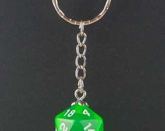 D20 Dice Dungeons & Dragons RPG Fantasy Clear Green Keychain