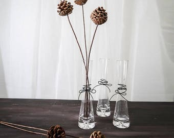 1 Flared Glass Vase Set with 3 Faux Pine Cones / Desk Bud Glass Vase with Artificial Pine Cones Sticks for Centerpieces