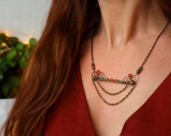 Necklace copper wire wrapped carnelian, peridot, unakite, green onyx: ᘛ Druids .ᘚ cradle.